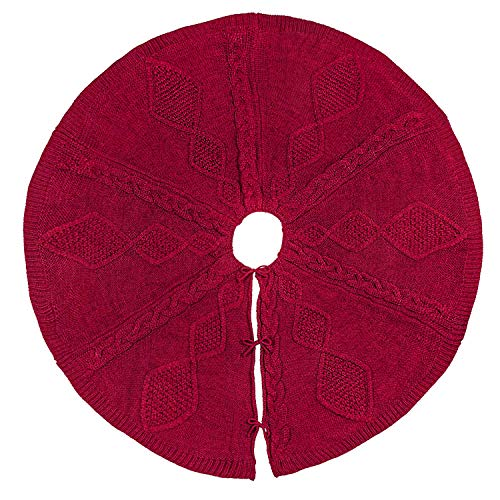 LimBridge Christmas Tree Skirt, 48 inches Buffalo Plaid Knitted Thick Heavy Yarn Rustic Xmas Holiday Decoration, Cream Burgundy