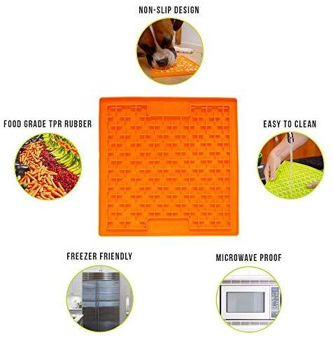 Hyper Pet Lickimat Slow Feeder Dog Mat & Boredom Buster (Perfect For Dog Food, Dog Treats, Yogurt, or Peanut Butter) [Fun Alternative to a Slow Feed Dog Bowl], Available in a Variety of Colors & Sizes