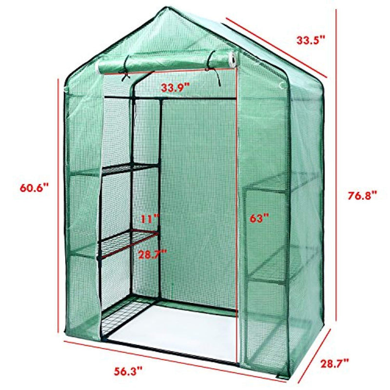 "Ohuhu Small Walk-in Plants Greenhouse, 3-Tier 6-Shelf Stands Garden Green House, 56.3""x 28.7""x 76.7"""