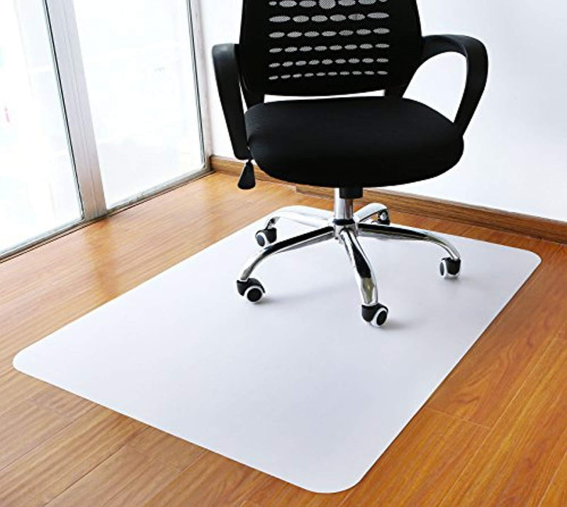 "Polytene Office Chair Mat, 47""x35"", 1.8mm Thick Hard Floor Protection with Rectangular Shaped Anti Slide Coating on The Underside,White,Thickness 1.8mm"