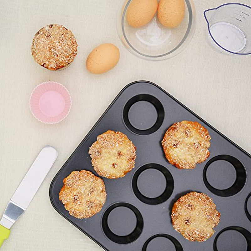 Kootek 7-Piece NonStick Bakeware Set, Muffin Pan, Loaf Pan, Cake Pan, Round Pan, Baking Sheet Pan, Cooling Racks Professional Baking Supplies Rectangle Cookie Pans