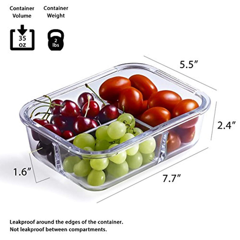 Glass Meal Prep Containers - 4-Pack 35 Oz. 3 Compartment Bento Box Lunch Containers | Bento Lunch Box Portion Control Containers | 3 Compartment Food Containers