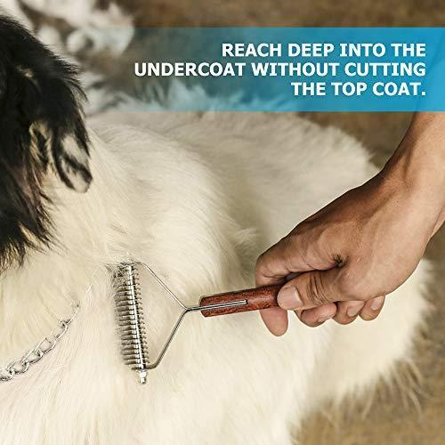 PawsPamper Extra Wide Undercoat Rake for Medium to Large Dogs, Cats - 20 Blade