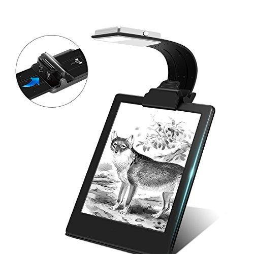 Clip On Book Light Reading Light USB Rechargeable Reading Lamp Eye Care Double As Bookmark Flexible with 4 Level Dimmable for Book eBook Reading in Bed, Kindle, iPad(Black)