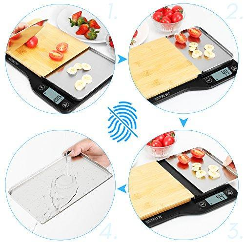Digital Kitchen Scale with Dough Scraper, NUTRI FIT High Accuracy Multifunction Food Scale with 1.2L Removable Bowl,Tare & Auto Off Function,11lb 5kg (Bamboo)