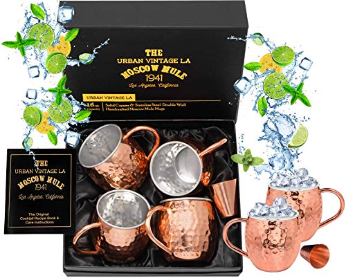 Set of 4 Moscow Mule Copper Mugs with Stainless Steel Lining and Shot Glass in Gift Box, Premium Food Safe Double Wall Heavy Copper Cups for Everyday Use