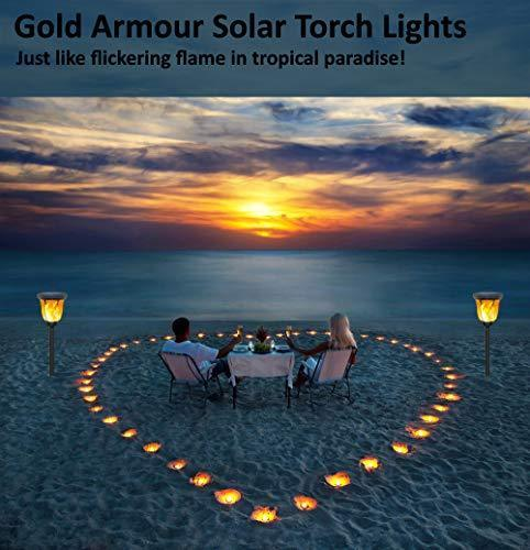 Gold Armour Solar Lights Outdoor - Flickering Flames Torch Solar Path Light - Dancing Flame Lighting 96 LED Dusk to Dawn Flickering Tiki Torches Outdoor Waterproof Garden (4 Pack)