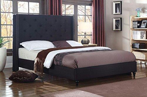 "Life Home Premiere Classics Cloth Black Linen 51"" Tall Headboard Platform Bed with Slats Queen - Complete Bed 5 Year Warranty Included"