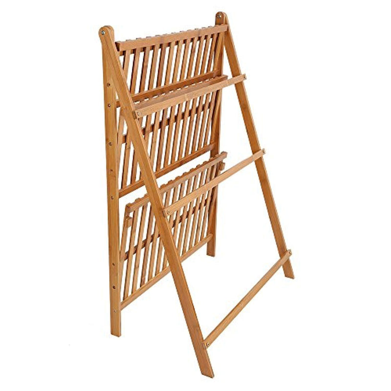 Ogori Bamboo Wood Ladder Plant Stand 3-Tier Foldable Organizer Flower Display Shelf Rack for Home Patio Lawn Garden Balcony Holder