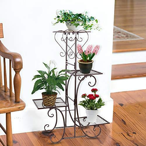 Moutik Corner Metal Flower Holder Racks 4 Tier Shelves for Indoor Outdoor Plant Flower Stand Rack Shelf for Multiple Plants,Black