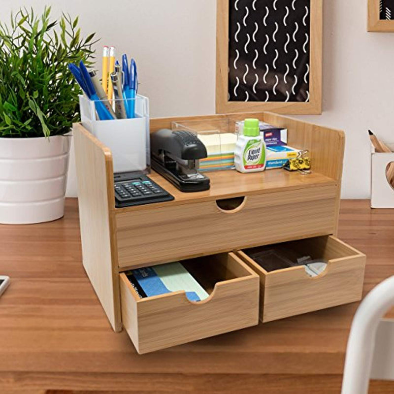 Sorbus 3-Tier Bamboo Shelf Organizer for Desk with Drawers — Mini Desk Storage for Office Supplies, Toiletries, Crafts, etc — Great for Desk, Vanity, Tabletop in Home or Office
