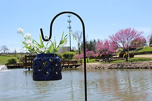 Black Shepherd Hook 48 Inch, 10MM Thick, Super Strong, Rust Resistant Steel Hook Ideal for Use at Weddings, Hanging Plant Baskets,  Bird Feeders, (10, Black) by AshmanOnline