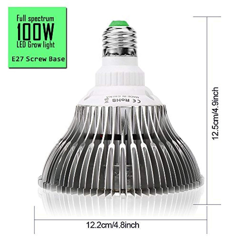 100W Led Grow Light Bulbs Full Spectrum,150 LEDs indoor plant growing lights Lamp for Vegetable Greenhouse Hydroponic, E26 Indoor Grow Light AC 85~265V