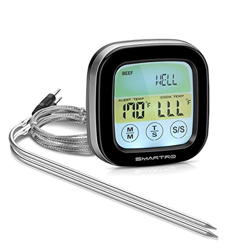 SMARTRO ST59 Meat Thermometer Instant Read Food Thermometer Digital Cooking Thermometer with Timer Alert 2 Probes for Oven, Kitchen, Grilling, Smoker (black)