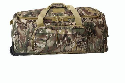 ARMYCAMOUSA Military Tactical Wheeled Deployment Trolley Duffel Bag Heavy-Duty Camping Hiking Running Trekking
