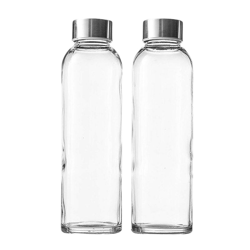 Seacoast - 18 Oz Glass Juice Bottles With Regular 18/10 Steel Caps (6, Clear)