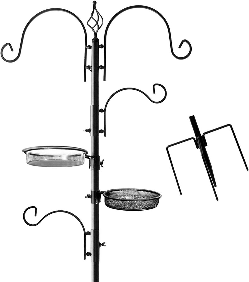 Deluxe Bird Feeding Station : Bird Feeders for Outside - Hang Multiple Feeders From the 4 Hangers, Bird Bath - 22 Inch Wide x 7 feet 8 inch Tall by AshmanOnline