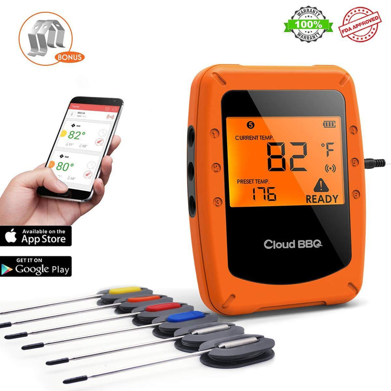 Bluetooth Meat Thermometer Wireless Digital BBQ Thermometer Instant Read Cooking Food Thermometer with 6 Probes Used for Smoker Kitchen Oven Grill Support iOS & Android by ThermoOne