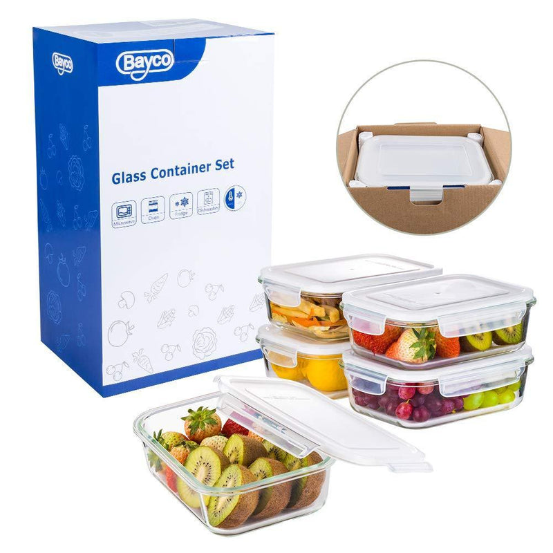 Bayco Large Glass Meal Prep Containers, [5 Pack, 36oz | 4.5cups] Glass Food Storage Containers with Lids, Airtight Glass Bento Boxes, BPA Free & FDA Approved & Leak Proof (5 lids & 5 Containers)