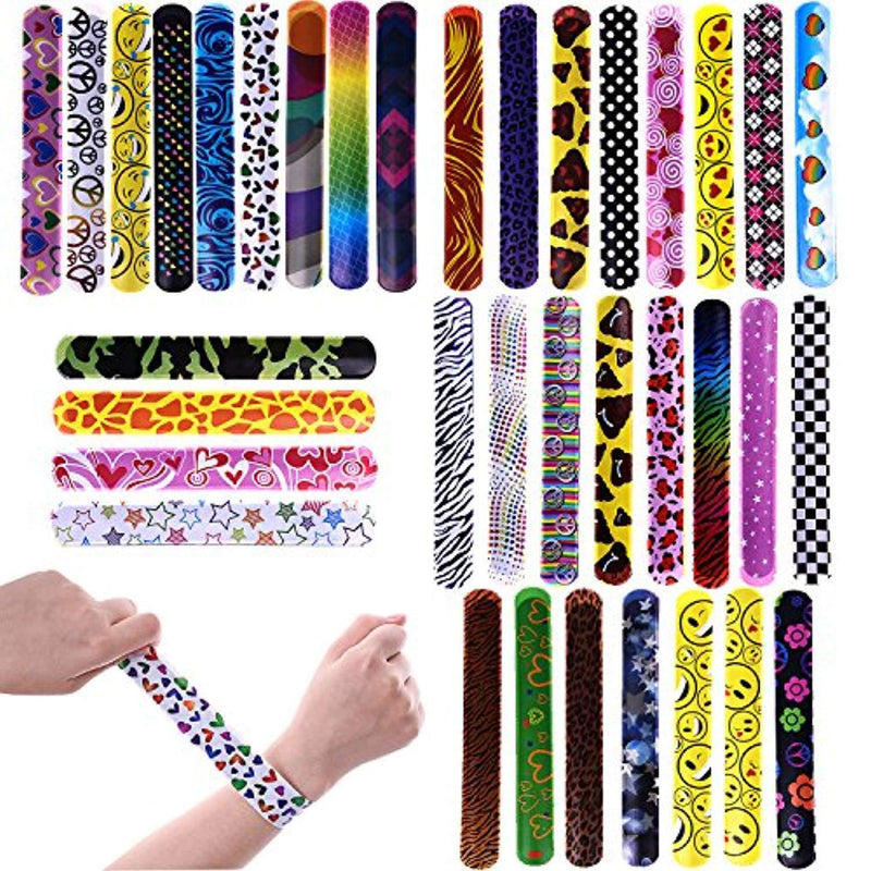 72 PCs Slap Bracelets Toy Halloween Party Favors Pack With Colorful Hearts Emoji Animal Print Design Retro Slap Bands for Birthday Parties, Kids Prizes ,Stocking Stuffers, Pinata Fillers