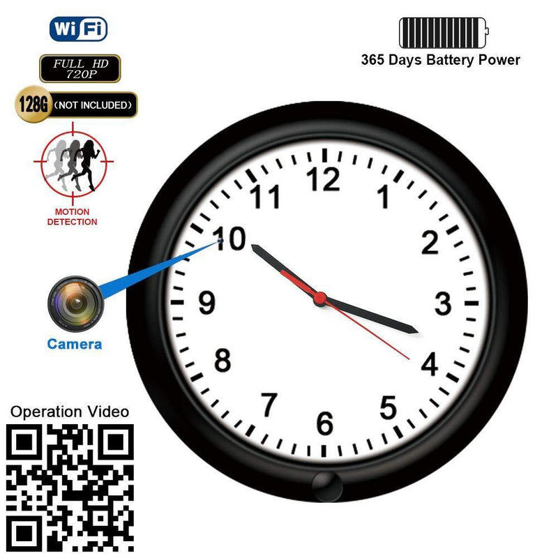 WiFi Wireless IP Spy Hidden Camera Wall Clock Camera Recorder -BSTCAM 10inch 365 Days Long Standby Times, Motion Detection Record, Indoor Nanny Home Secuirty Camera Support Remote Live Stream