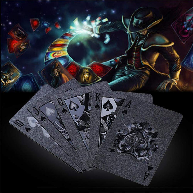 Lijuan Qin 2 Pack Cool Black Gold Foil Poker Playing Cards, PVC Plastic Waterproof Poker Cards, Playing Cards Trick Magic Cards Games for Family Party BBQ Game