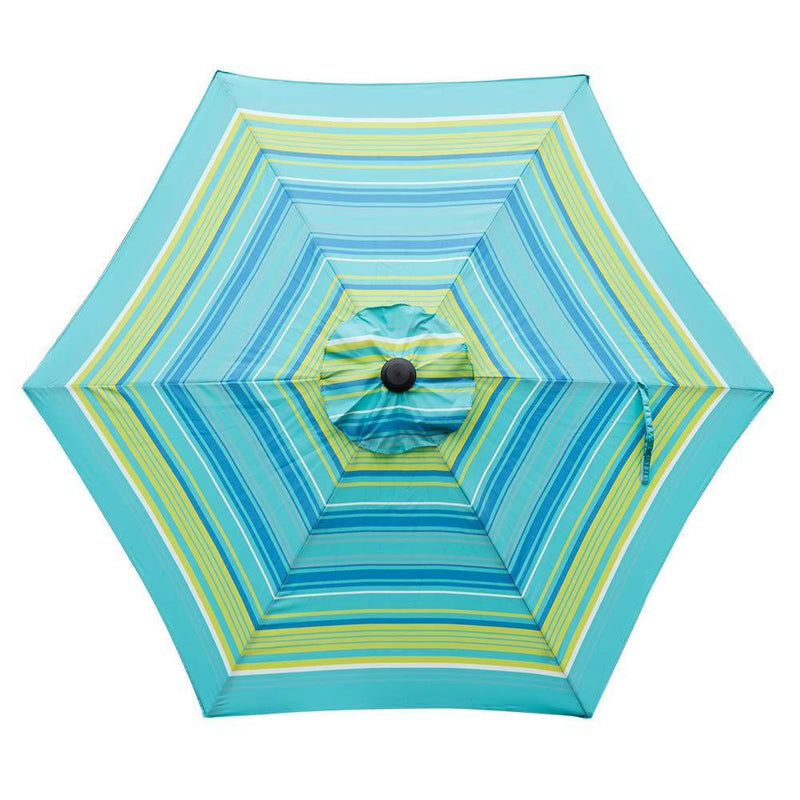 Abba Patio Outdoor 9-Feet Table Umbrella with Push Button Tilt and Crank Lift, Turquoise Striped