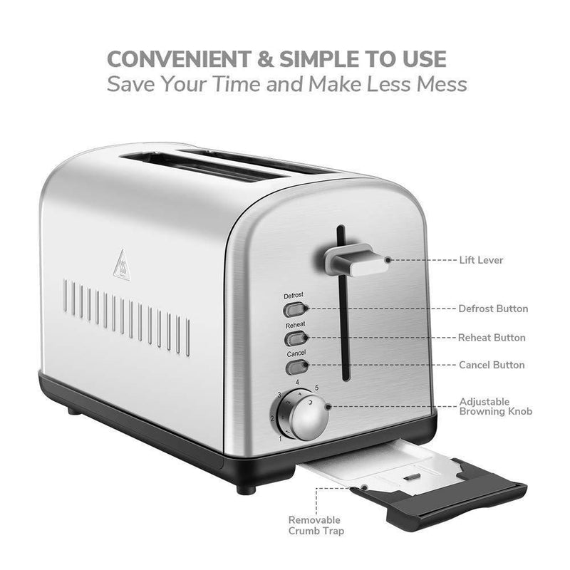Home Gizmo 2 Slice Toaster Cool Touch with Extra-Wide Slots 7 Browning Dials and Removable Crumb Tray, Brushed Stainless Steel, Silver