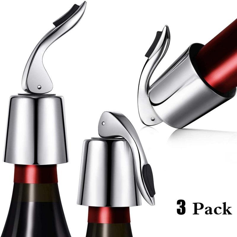 OHMAXHO Stainless Steel Wine Stoppers Bottle Stoppers Vacuum Bottle Sealer Bottle Plug with Inner Rubber 1.6 x 3.7 inches (Silver)