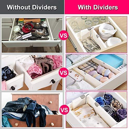"JONYJ Drawer Dividers/Organizer 4 Pack, Adjustable Separators 4"" High Expandable from 11-17"" for Bedroom, Bathroom, Closet, Office, Kitchen Storage, Strong Secure Hold, Foam Ends, Locks in Place"