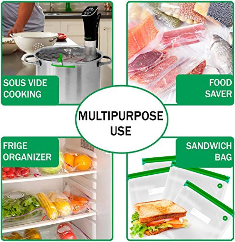 Sous Vide Bags 30 Reusable Vacuum Food Storage Bags Sous Vide Bag Kit 3 Sizes BPA Free (Premium)