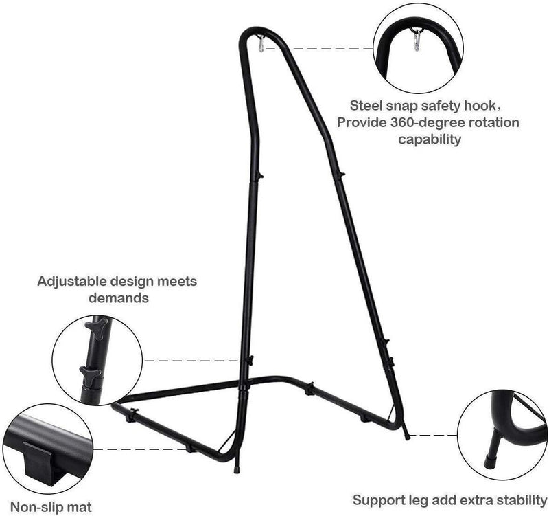 "Giantex Adjustable Hammock Stand, Height Adjust from 78.5"" to 98.5"", Solid Steel Construction Arc Hammock Stand for Hammock Air Porch Swing Chair"