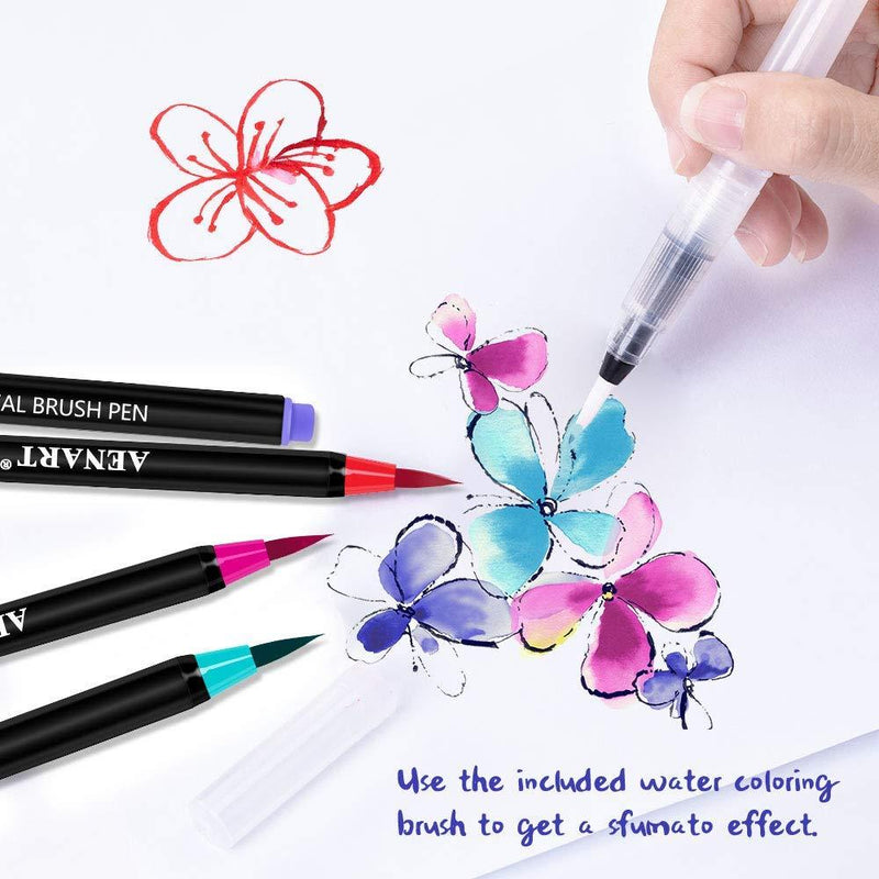 Watercolor Real Brush Pens Set, 24 Vibrant Markers with 1 Refillable Water Brush Pen for Artists and Beginner,Calligraphy Lettering Coloring Hand Writing Sketching by Aen Art