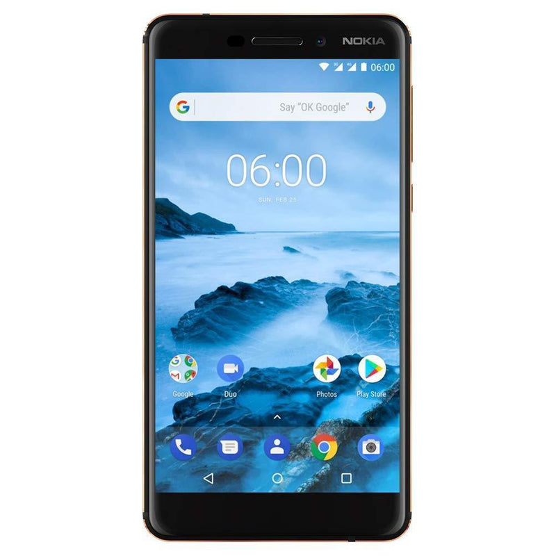 "Nokia 6.1 (2018) - Android One (Oreo) - 32 GB - Dual SIM Unlocked Smartphone (AT&T/T-Mobile/MetroPCS/Cricket/H2O) - 5.5"" Screen - Black - U.S. Warranty"