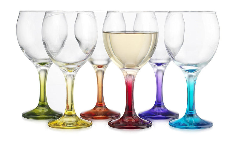 Carnival Color, Wine Glass 10 OZ Party Color Set of 6