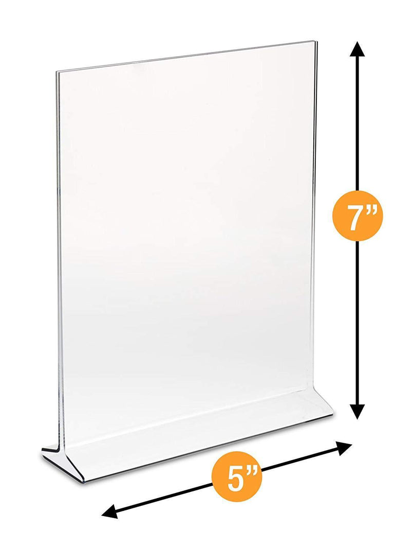 "Displaypros 5""X7"" Acrylic Sign Holder, Clear Plastic Table Menu Holder, Card Display, Table Tent, Upright Ad Photo Picture Portrait Frame, Promo, Ad Frame Clear, 6-Pack"