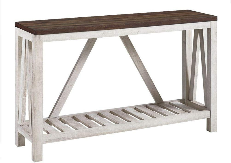 New 52 Inch A-Frame Rustic Entry Table - Dark Walnut Top with White Oak Finish