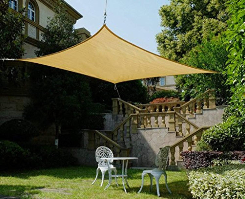 Cool Area Rectangle 13' X 19'8'' Sun Shade Sail with Stainless Steel Hardware Kit, UV Block Fabric Patio Shade Sail in Color Sand