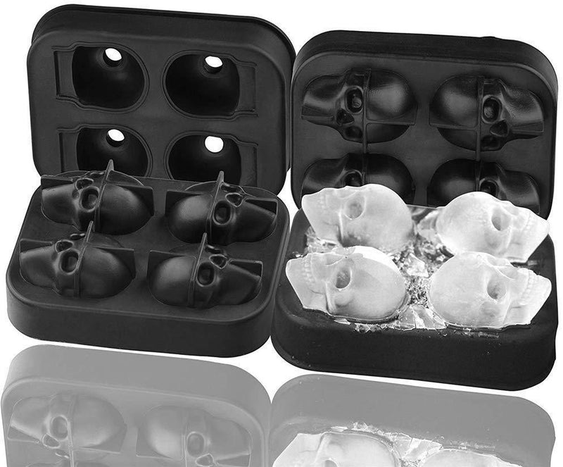2 Pack 3D Silicone Skull Mold Ice Cube Mold, Onidoor Creative Candy Sugar Chocolate Mold Maker