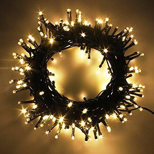 PMS LED String Fairy Lights on Dark Green Cable with 8 Light Effects, 173ft 500 LED Warm White. UL Listed Low Voltage Transformer. Ideal for Christmas, Xmas, Party, Wedding, etc.