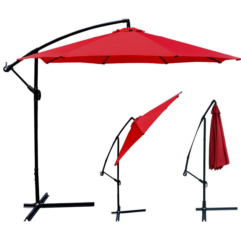Patio Umbrella Offset 10' Hanging Umbrella Outdoor Market Umbrella D10 (Red)