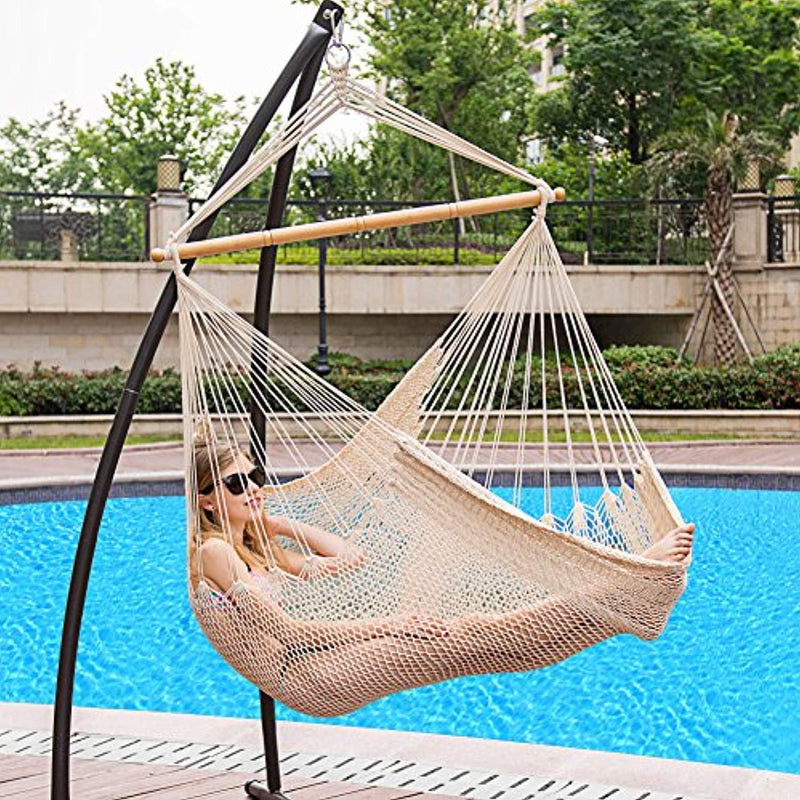 Lazy Daze Hammocks Hanging Caribbean Hammock Chair, Soft-Spun Cotton Rope, 40 Inch Hardwood Spreader Bar Wide Seat, Max Weight 300 Pounds, Natural