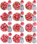 Baking supplies set 25 pcs - Russian piping tips newest patterns - big size 9 flower icing tips and 3 Malaysia pastry nozzles with accessories included in Cake decorating set