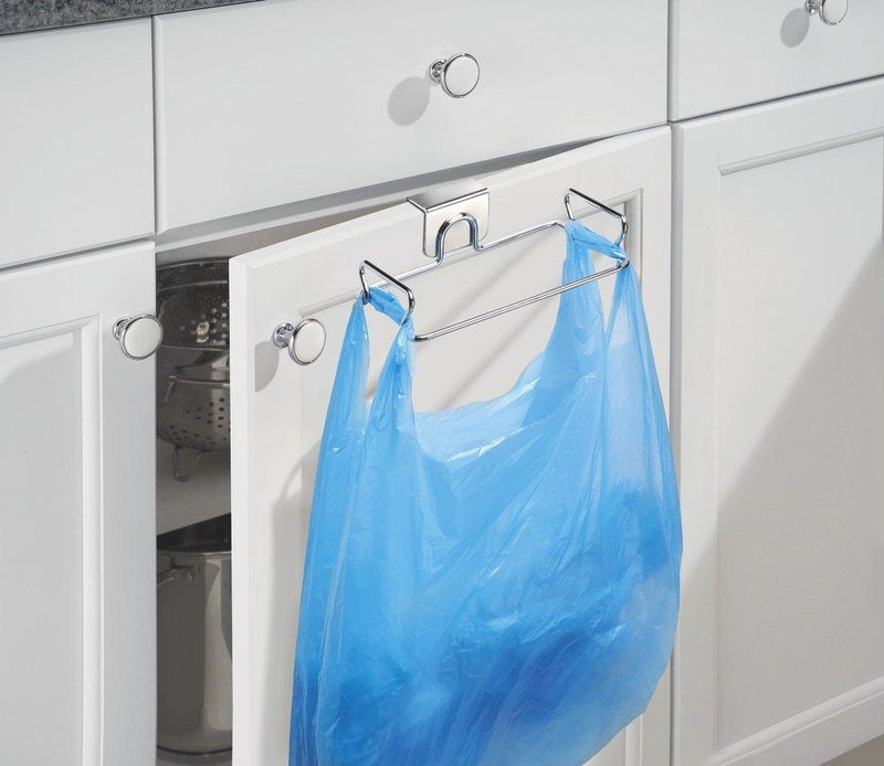 mDesign Over-The-Cabinet Plastic Bag Storage and Grocery Bag Holder, Kitchen Storage - Chrome