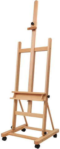 MEEDEN Large Studio H-Frame Easel - Solid Beech Wood Artist Easel Adjustable Movable Tilting Easel, Floor Painting Easel Stand, Holds Canvas Art up to 48