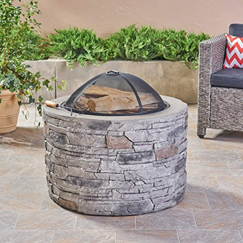 "Great Deal Furniture Dione Outdoor 32"" Wood Burning Light-Weight Concrete Round Fire Pit, Grey"