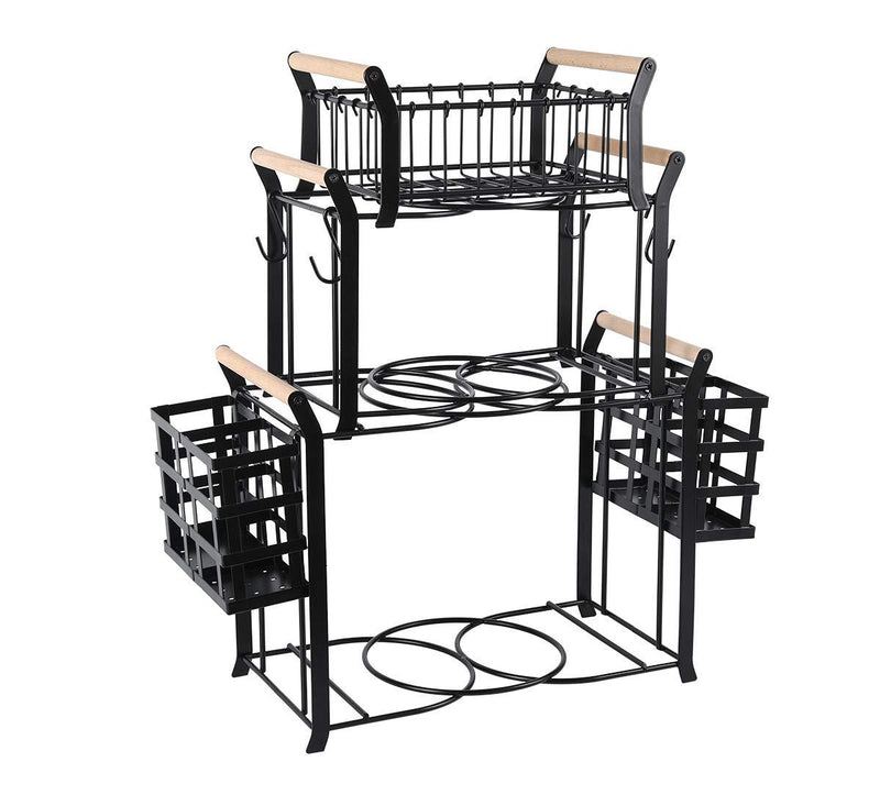 TQVAI 2 Tier Buffet Caddy with Mug Holder for Plates, Utensils, Napkins - Ideal for Kitchen, Dining, Entertaining, Parties, Picnics