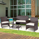 Tangkula Outdoor Patio Furniture 4 Piece Cushioned Sofa and Coffee Table Set Tea Table with 2 Shelves Lawn Balcony Pool Compact Conversation Set