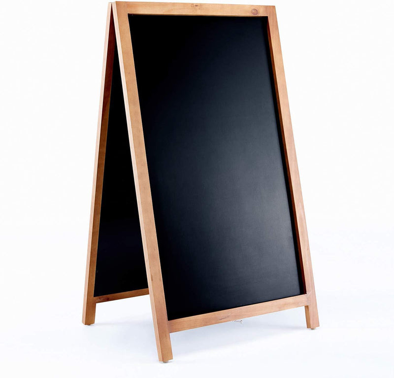 VersaChalk A Frame Sidewalk Chalkboard Sign with Rustic Wood Frame and Non Porous Magnetic Blackboard Surface Compatible - 24 x 42 Inches