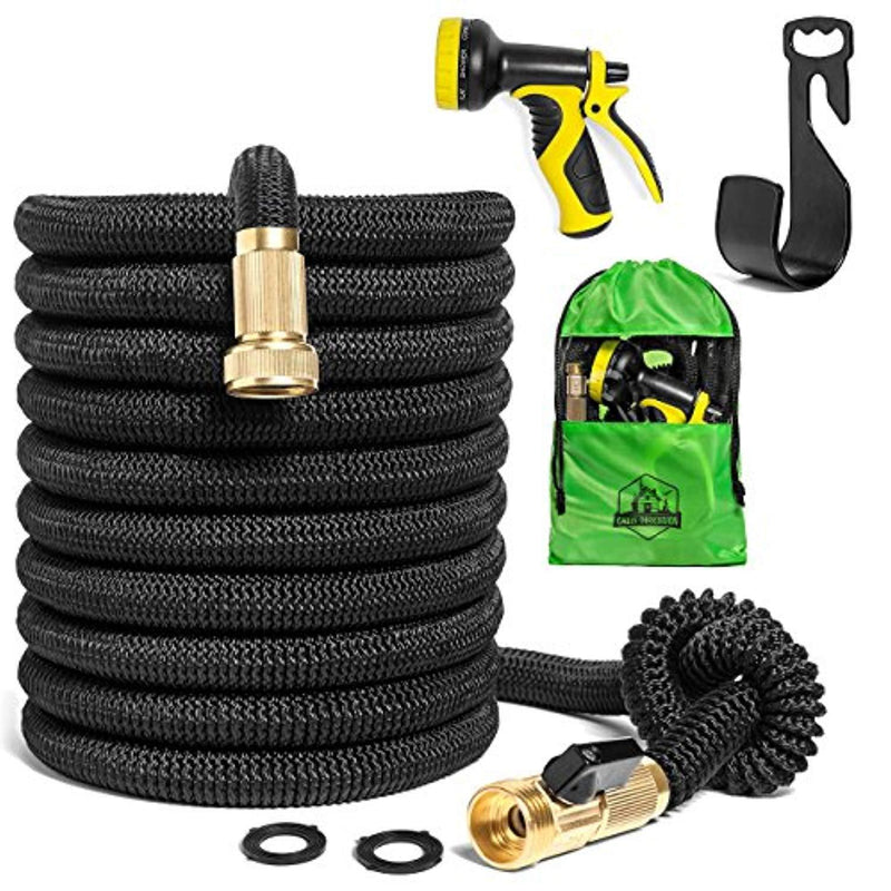 Cabin Obsession Expandable Garden Hose Kit - The Best Flexible, Lightweight, Yet Heavy Duty Outdoor Expanding Water Hose - 50 ft Long When Expanded - Color Black